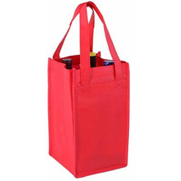Red Non-Woven Four-bottle Wine Bag