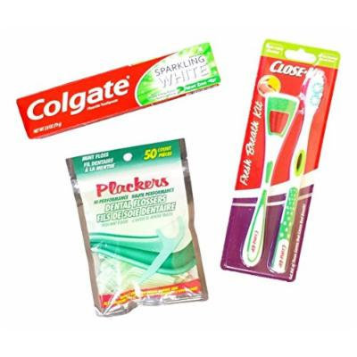 Dental Care Braces Bundle - Three Items: One Package Close-up Fresh Breath Kit, One Box Colgate Sparkling White Toothpaste, One Package Plackers Dental Flossers