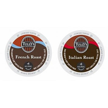 Tully's Coffee FRENCH & ITALIAN ROAST Variety Pack 48 K-Cups for Keurig Brewers
