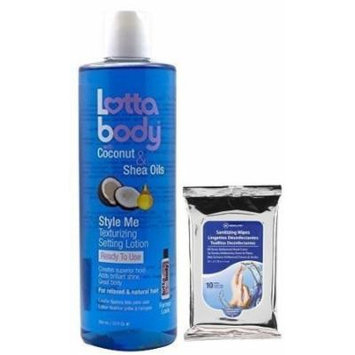 2 Pack Lottabody STYLE ME Texturizing Setting Lotion with Coconut & Shea Oils 12oz with (Sanitizing Wipes 10ct)