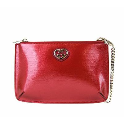 Gucci Women's Red Shiny Leather Cosmetic Case Interlocking G Clutch 338192 6523