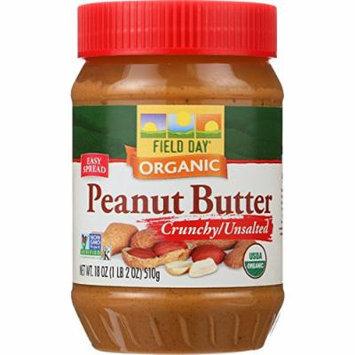 Field Day Organic Easy Spread Peanut Butter, Crunchy, No Salt (12x18Oz )