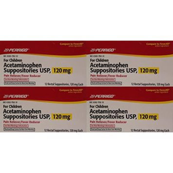 Acetaminophen Rectal Suppositories Generic for Tylenol Suppositories,FeverAll Children's 120 mg 12 ea per Box 4 PACK Total 48 ea