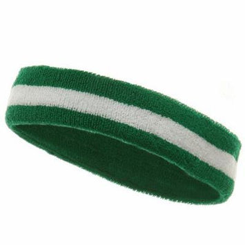 Striped Cotton Terry Cloth Moisture Wicking Head Band (Kelly Green/White)