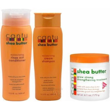Cantu Shea Butter Trio Set (Shampoo, Conditioner, Grow Strong Strengthening Treatment) Plus 2 Free of Apple EYE Pencil Color: Sky Teal