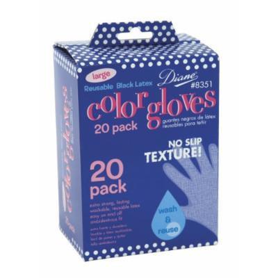 Diane No Slip Black Latex Gloves, 20 Count - Large