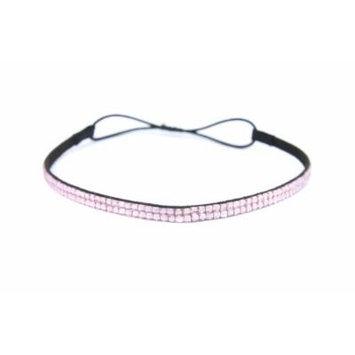 Two Row Bling Rhinestone Headband/ Elastic Stretch/ Rhinestone Hair Band Hair Accessory (Light Pink Thin Headband)