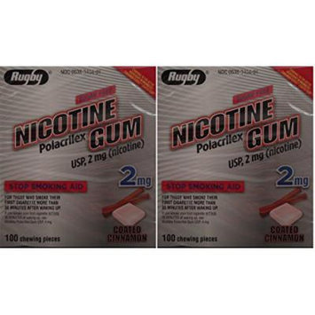 Nicotine Gum 2mg Sugar Free Coated Cinnamon Generic for Nicorette 100 Pieces per Box Pack of 2 Total 200 Pieces