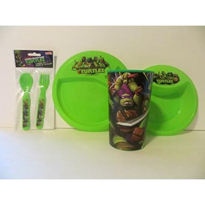 Teenage Mutant Ninja Turtle Meal Time Set 5 Pieces - BPA Free Cup, Plate, Bowl, Fork, Spoon, Cup ZAK
