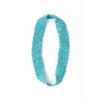 Sizzle City Custom Bling Rhinestone Bohemian Pattern Seed Bead Elastic Stretch Headbands (Native American Seed Bead Headband Style I)