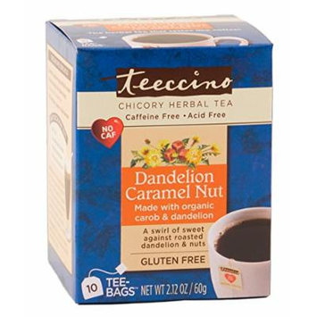 Teeccino Dandelion Caramel Nut Chicory Herbal Tea Bags, Gluten Free, Acid and Caffeine Free, 10 Count (Pack of 4)