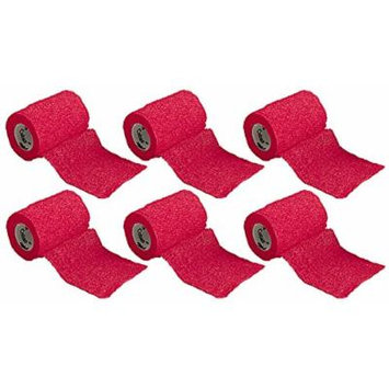 3M Coban Self-Adherent First Aid Athletic Wrap, Red (Pack of 6)