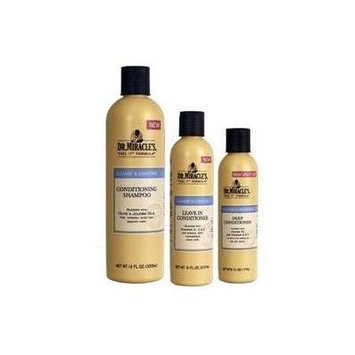 Dr. Miracles Cleanse & Condition Trio Set (Conditioning Shampoo, Deep Conditioner, Leave in Conditioner) Plus 1 Free of EYE Pencil