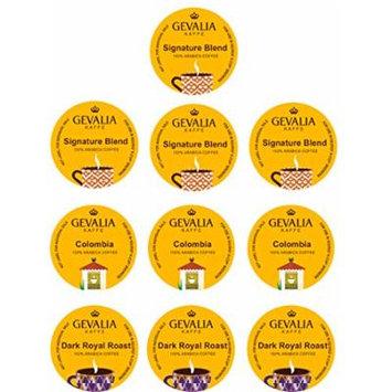 10 Cup GEVALIA Sampler! 3 Varities - Dark Royal roast, Signature blend & Colombia