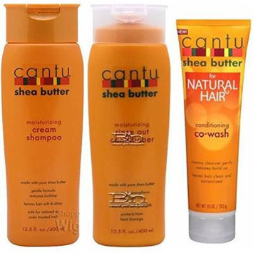 Cantu Shea Butter 3pcs Set (Moisturizing Shampoo, Moisturizing Conditioner, And Complete Conditioning Co-Wash) Plus 1 Free of Apple EYE Pencil Color: sky teal