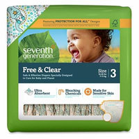 Seventh Generation Baby Diapers, Free and Clear for Sensitive Skin, with Animal Prints, Size 3, 155 Count (Pack of 5)
