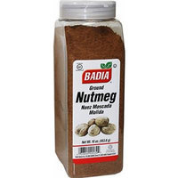 Badia Ground Nutmeg. 16 oz dispenser jar.