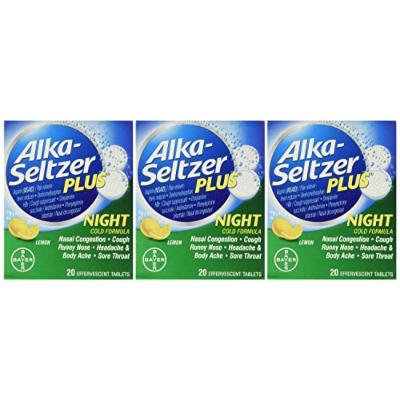 Alka-Seltzer Plus Night Cold Effervescent Pain Reliever, 20 Count