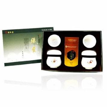 Korean Organic Premium Top Grade Mountain Loose Leaf Fermented Green Tea Ceramic Porcelain Mug Infuser Strainer Gift Set - 2.1 Ounce
