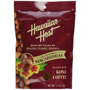Hawaiian Host MACADAMIA NUTS -Kona Coffee Glazed , LARGE 11 oz (Resealable Bag)