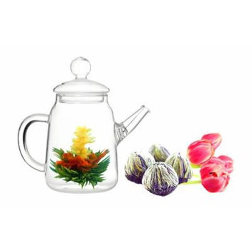 Tea gift Glass Teapot Duo, 16oz/470ml with Fab Flowering Tea (2 Blooms)