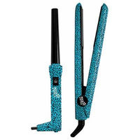 Rock My Style Flat Iron & Curling Wand Styling Kit (Teal Cheetah)