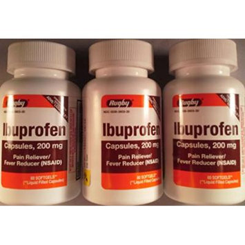 [3 PACK] RUGBY® IBUPROFEN LIQUIDGELS, 200MG PAIN RELIEVER/NSAID 80CT/BOTTLE *COMPARE TO THE SAME ACTIVE INGREDIENTS FOUND IN ADVIL® LIQUI-GELS & SAVE*
