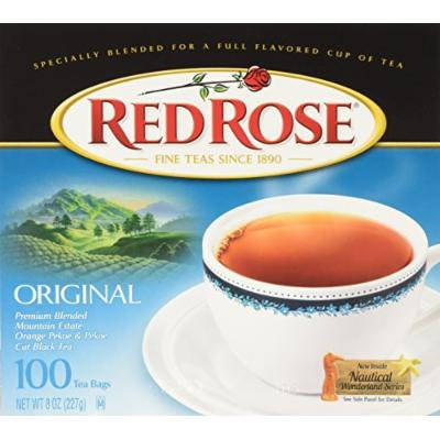 Red Rose Premium Blended Black Tea, 100-Count (Pack of 6)