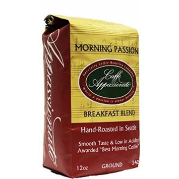 Caffe Appassionato Morning Passion Blend Ground Coffee, 12-Ounce Bag (Pack of 3)