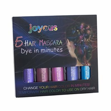 Professional Temporary Hair Color Highlights & Streaks Touch-up (Purple+Wine Red+Pink+Medium Blue+Blue, 5 Color Set)