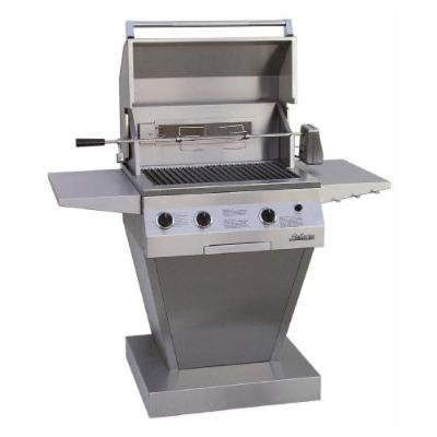 Solaire 27-Inch Deluxe InfraVection Natural Gas Pedestal Grill with Rotisserie Kit, Stainless Steel