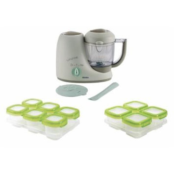 Beaba Babycook Baby Food Maker, Latte Mint with Baby Blocks Storage Containers
