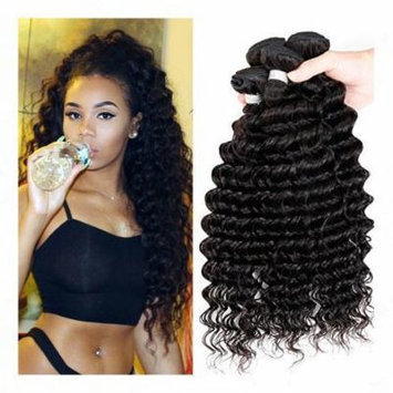 Passion Grade 7a Human Hair Direct 100% Virgin Brazilian Human Hair Extensions Water Wave 3-pack Bundle, Natual Black Color 300g Total (100g Each) (16 18 20)