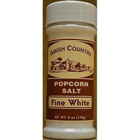Amish Country Fine White Popcorn Salt 2/6 Oz Shakers Total 12 Ounces