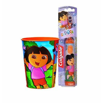 Dora the Explorer Inspired 2pc. Bright Smile Oral Hygiene Set! (1) Dora Battery Powered Turbo Spin Brush Plus Bonus Matching Mouth Wash Rinse Cup!