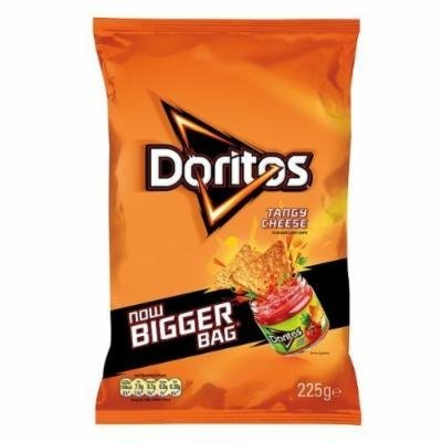 Doritos Tangy Cheese Flavour Corn Chips 225G (Pack Of 12)