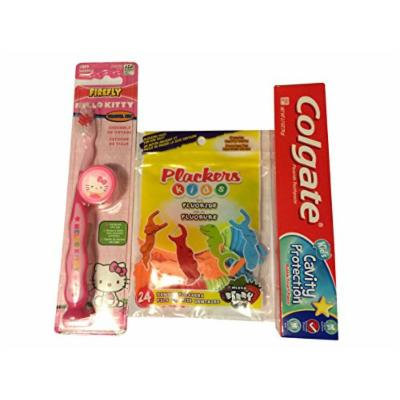 Hello Kitty Firefly Toothbrush Kit Bundle with Colgate Kids Toothpaste and Plackers Mixed Berry Flavor Kids Dental Flossers