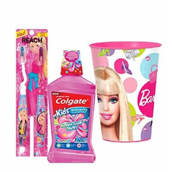 Barbie Girl Inspired 4pc Bright Smile Oral Hygiene Set! (1) Reach Barbie Youth Soft Manual Toothbrush 2pk (1) Colgate Kids Mouthwash Bubble Gum Swirl Plus Bonus Matching Mouth Wash Rinse Cup!