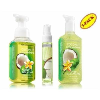 Bath & Body Works Coconut Lime Verbena Deluxe Hand Soap Gift SET ~ Gentle Foaming Hand Soap ~ Deep Cleansing Hand Soap & Sanitizer Spray