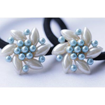 ZTHY NEW Elastic Fashion Women Pearls Beads Hair Band Rope Scrunchie Ponytail Holder (white/blue)