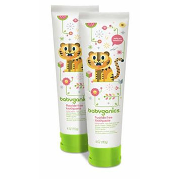Babyganics Fluoride Free Toothpaste, Watermelon, 4oz Tube (Pack of 2)