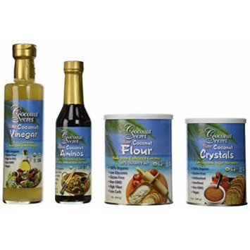 Coconut Secret 4 Piece Set Includes 1 lb Flour, 12.7 oz Vinegar, 8 oz Aminos, 12 oz Crystals