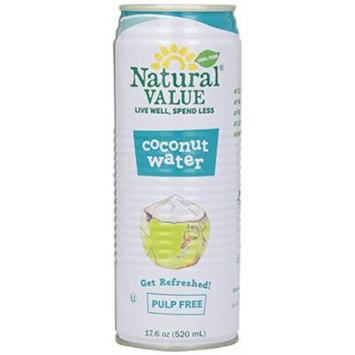 Natural Value Coconut Water, Pulp Free, 17.6 Ounce (Pack of 12)