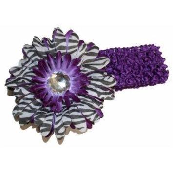 Purple Black White Zebra Jewel Gerber Daisy Flower Crochet Headband
