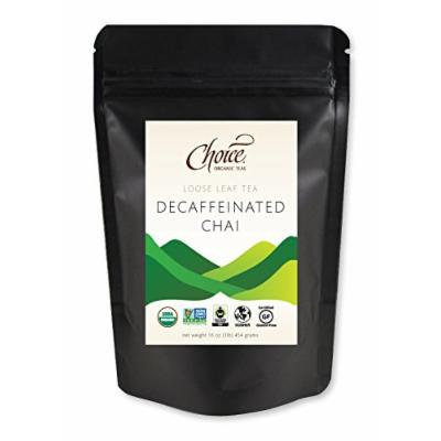 Choice ORGANIC TEAS Loose Leaf Tea, Decaffeinated Chai, 1 Pound