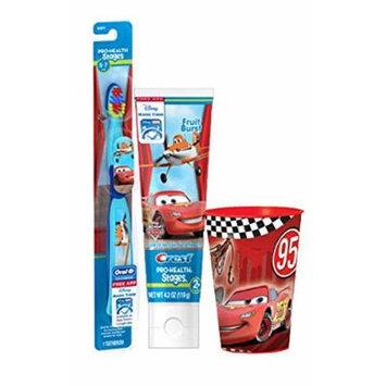 Disney's Pixar Cars Extra Soft Manual Toothbrush & Crest 4.2 Oz Fruit Burst Flavored Toothpaste Plus Bonus Car's Mouthwash Rinse Cup!