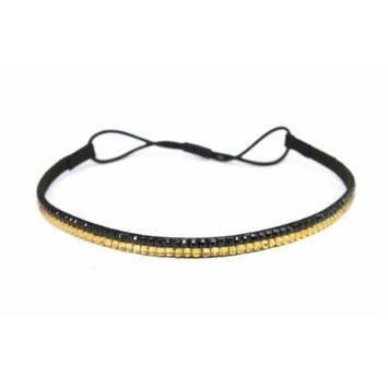 Two Row Bling Rhinestone Headband/ Elastic Stretch/ Rhinestone Hair Band Hair Accessory (Gold Black)