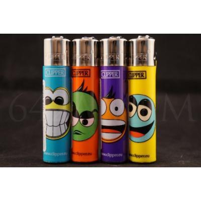 4 pcs New Refillable Original Clipper Lighters Smiling Faces Design