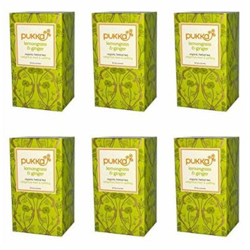 (6 PACK) - Pukka Lemongrass & Ginger Tea, 20 Bags ,6 PACK - SUPER SAVER - SAVE MONEY