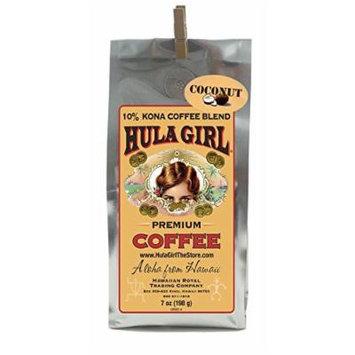 Hula Girl 10% Hawaiian Kona Coffee Blend Coconut Mac Nut 7oz bag (198g)